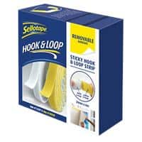 Sellotape Sticky Hook and Loop Strip Removable White & Yellow 6m