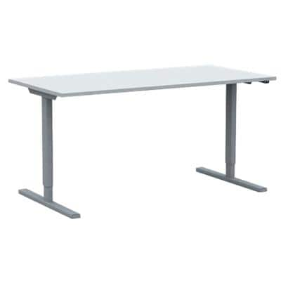 Sit Stand Desk Optima G White with Silver T-Shape Frame 1,600 x 800 x 720 mm