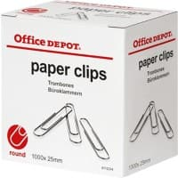 Office Depot Paper Clips Round 25mm Silver Pack of 1000