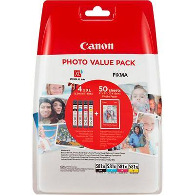 Canon CLI-581XL Original Ink Cartridge Black, Yellow, Cyan, Magenta 4 Pieces