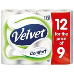 Velvet Toilet Rolls Comfort 2 Ply 12 Rolls of 210 Sheets