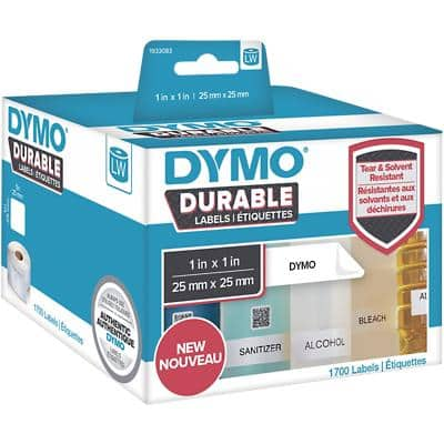 DYMO LW Durable Multi-purpose Labels 1933083 Black on White 25 mm x 25 mm 850 Labels