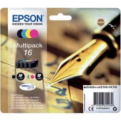 Epson 16 Original Ink Cartridge C13T16264012 Black & 3 Colours 2 pieces