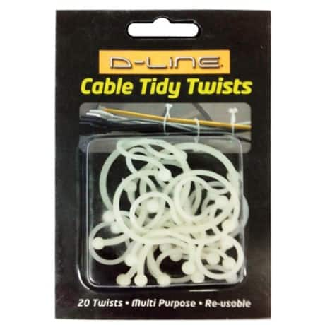 D-Line Cable Tidy Twists White 20 pieces