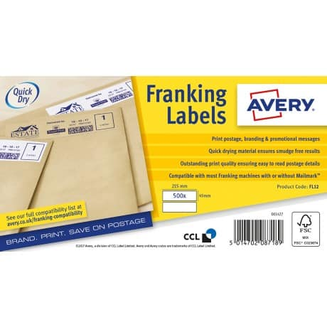 Avery Franking Labels FL12 White 500 labels per pack
