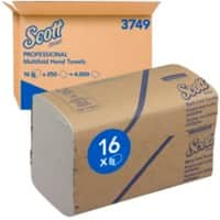 Scott Hand Towels 3749 1 Ply M-fold White 250 Sheets Pack of 16