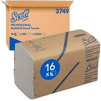 Scott Hand Towels 3749 1 Ply M-fold White 16 Pieces of 250 Sheets