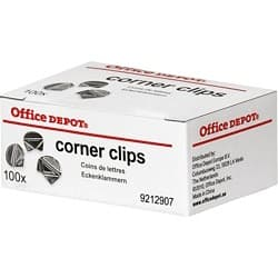 Office Depot Corner Clips Silver 100 Pieces