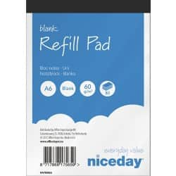 Niceday Refill Pads White Plain perforated A6 14.8 x 10.5 cm 10 pieces of 100 sheets
