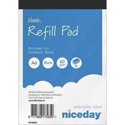 Niceday A6 Top Bound Blue Paper Cover Refill Pad Plain 160 Pages Pack of 10