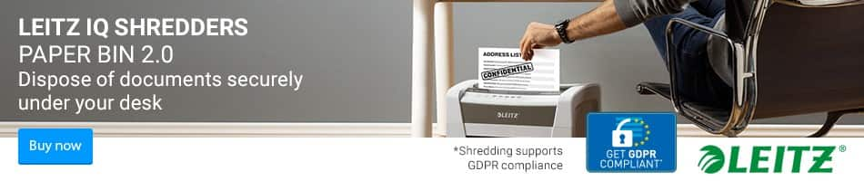Dispose your documents securely under your desk. Leitz IQ Shredders Paper Bin 2.0 Buy Now
