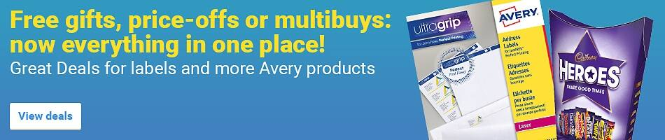 Free gifts, price-offs or multibuys - now everything in one place! Great Deals for labels and more Avery products