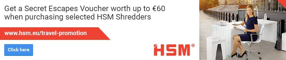 Get a Secret Escapes Voucher worth up to €60 when purchasing selected HSM Shredders