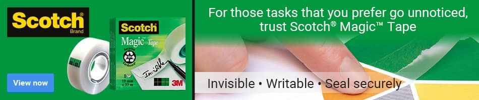 For those tasks that you prefer go unnoticed, trust Scotch Magic Tape - Invisible, Writable, Seal securely