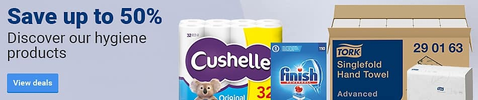 Save up to 50%. Discover our hygiene products