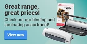 Great range, great prices! Check out our binding and laminating assortment!